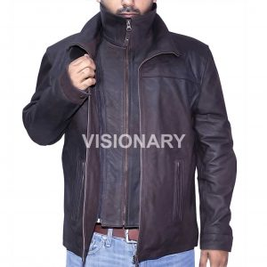 New Sheepskin Original Leather Jacket for Men Matt Finish High Neck Collar Style