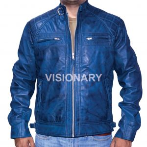 New Sheepskin Original Leather Jacket For Men Soft Shiny Biker Style Quilted