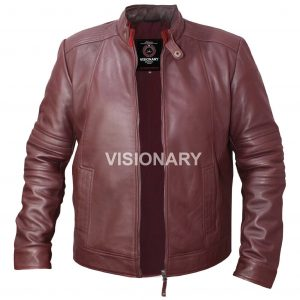 Brand New Sheepskin Original Leather Jacket For Men Stand Collar with Throat Tab