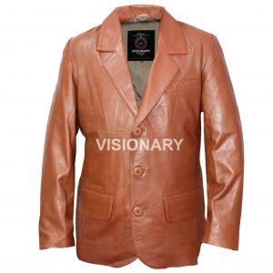 Brand New Men's Classic Genuine Soft Lambskin Leather Blazer Three Button Coat