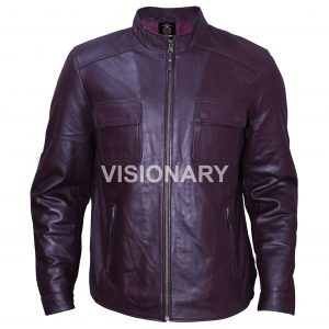 Brand New Lambskin Original Leather Jacket for Men Straight Zipper Flap Pockets