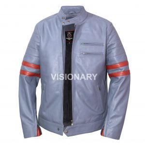 Brand New Lambskin Original Leather Biker Jacket for Men Stand up Collar Style