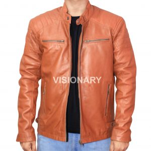 Brand New Sheepskin Original Leather Jacket for Men Stand up Collar Quilted Bike