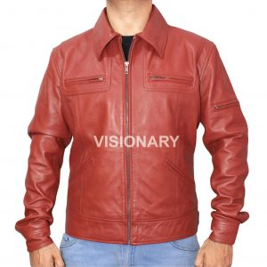 Brand New Lambskin Original Leather Biker Jacket for Men Shirt Collar Style