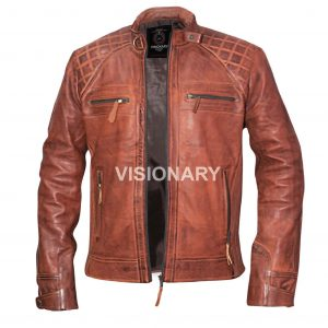 Brand New Men's Genuine Sheepskin Leather Jacket Biker Quilted Café Racer Style.