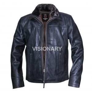 Brand New Sheepskin Original Leather Jacket for Men Double Collar Fur High Neck