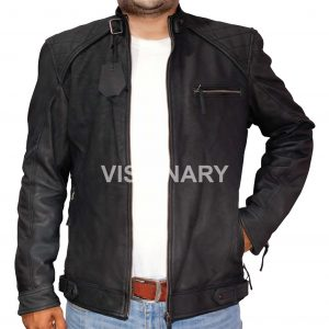 New Sheepskin Original Leather Jacket for Men Black Matt Finish Snuffing Quilted