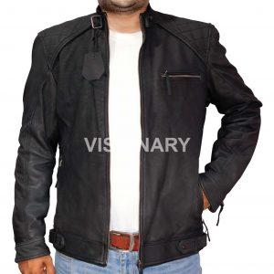 New Sheepskin Original Leather Jacket for Men Black Matt Finish Snuffing Quilted