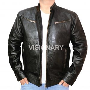 Brand New Lambskin Original Leather Jacket for Men Black Biker Stand up Collar